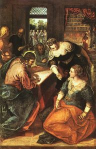 An image of Tintoretto's painting Jesus bei Maria und Martha