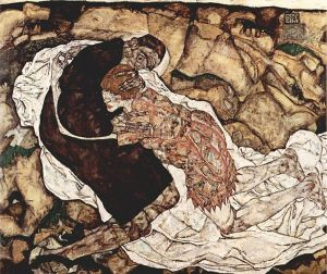 Image of painting by Egon Schiele, Der Tod und die Frau (Death and the Woman)
