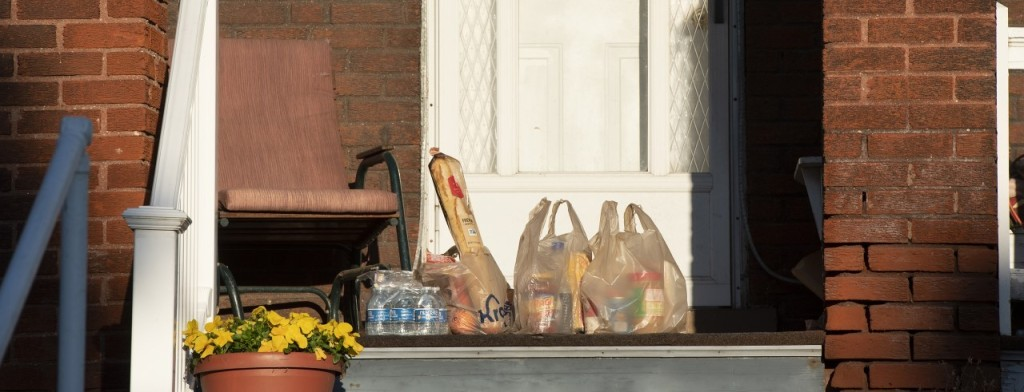 groceries on front porch